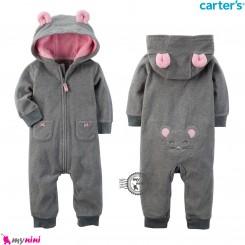 سرهمی کلاهدار کارترز اورجینال گرم و مخملی طوسی صورتی موش carter's baby hooded jumpsuits