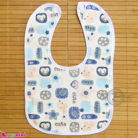 پیشبند نوزاد و کودک مخمل ضدآب آبی گل baby fleece Bib