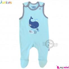 اورال نوزاد و کودک نخ پنبه ای جونیورز آبی نهنگ Juniors baby overall