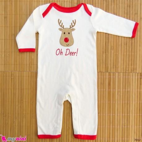 سرهمی نوزاد و کودک نخ پنبه ای شیری گوزن baby bodysuit