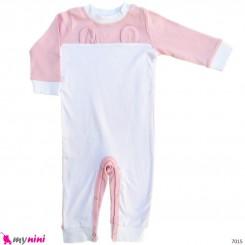 سرهمی نوزاد و کودک نخ پنبه ای سفید صورتی گوش دار 3 تا 6 ماه baby bodysuit