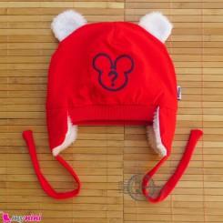 کلاه روگوشی گرم نوزاد داخل خزدار میکی موس قرمز Baby warm hats