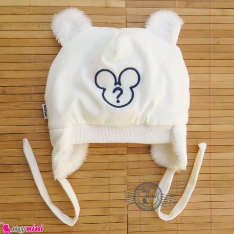 کلاه روگوشی گرم نوزاد داخل خزدار میکی موس شیری Baby warm hats