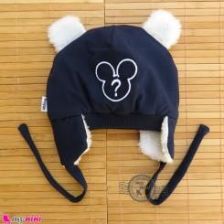 کلاه روگوشی گرم نوزاد داخل خزدار میکی موس سرمه ای Baby warm hats
