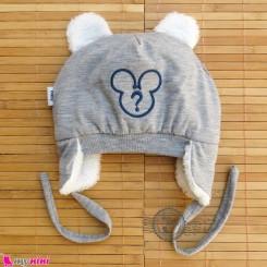 کلاه روگوشی گرم نوزاد داخل خزدار میکی موس طوسی Baby warm hats