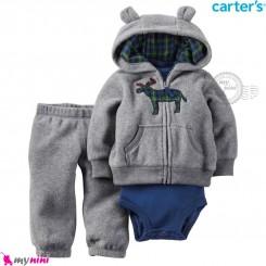 3 تکه لباس کارترز اورجینال گرم سویشرت طوسی گوزن بادی آبی Carter's baby boy hooded cardigan set