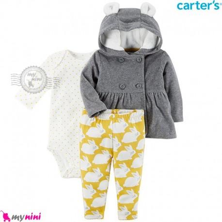 لباس کارترز اورجینال 3 تکه سویشرت طوسی شلوار زرد خرگوش Carter's baby boy hooded cardigan set