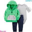 لباس کارترز اورجینال 3 تکه سویشرت سبز دایناسور Carter's baby boy hooded cardigan set
