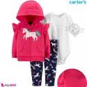 لباس کارترز اورجینال 3 تکه سویشرت سرخابی یونی کورن Carter's baby boy hooded cardigan set