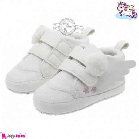 کفش نوزاد و کودک استپ دار سفید یونی کورن Baby first footwear