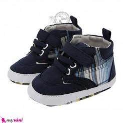 کفش اسپرت نوزاد و کودک ساق دار سرمه ای طرح دار Baby footwear