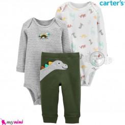 لباس کارترز 3 تکه اورجینال 2 عدد بادی و شلوار سبز طوسی دینو Carter's kids clothes set