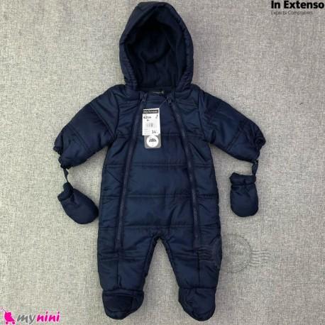 سرهمی کاپشنی نوزاد و کودک مارک اورجینال این اکستنسو سرمه ای IN Extenso baby warm jumpsuits