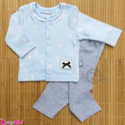 ست لباس نوزاد و کودک نخ پنبه ای آبی طوسی باران Baby clothes set