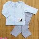 ست لباس نوزاد و کودک نخ پنبه ای آبی طوسی باران 0 تا 3 ماه Baby clothes set