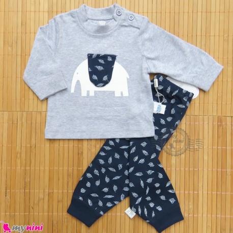 ست لباس نوزاد و کودک نخ پنبه ای طوسی سرمه ای فیل Baby clothes set