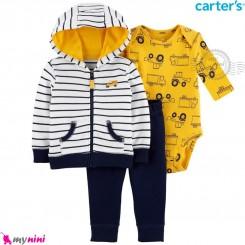 لباس کارترز اورجینال 3 تکه سویشرت راه راه بادی بلند زرد کامیون Carter's baby boy hooded cardigan set