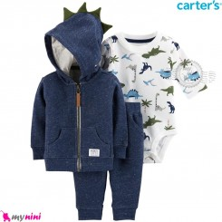 لباس کارترز اورجینال 3 تکه سویشرت سرمه ای دایناسور Carter's baby boy hooded cardigan set