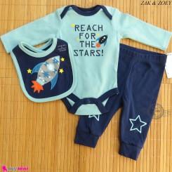ست لباس بچه گانه نخ پنبه ای 3 تکه مارک زاک اند زویی طرح فضایی ZAK & ZOEY Baby 3 piece clothes set