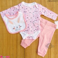 ست لباس بچه گانه نخ پنبه ای 3 تکه مارک زاک اند زویی صورتی خرگوش ZAK & ZOEY Baby 3 piece clothes set