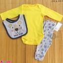 ست لباس بچه گانه نخ پنبه ای 3 تکه مارک زاک اند زویی زرد طوسی خرس ZAK & ZOEY Baby 3 piece clothes set