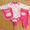 ست لباس بچه گانه نخ پنبه ای 3 تکه مارک زاک اند زویی صورتی روباه ZAK & ZOEY Baby 3 piece clothes set