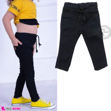 شلوار جین بچه گانه کمرکشی سرمه ای Baby jeans pants