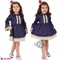 پیراهن اسپانیایی نخ پنبه ای بچه گانه سرمه ای baby girl spain dress