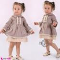 پیراهن اسپانیایی نخ پنبه ای بچه گانه کرمی خاکی baby girl spain dress