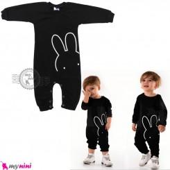 لباس سرهمی نوزاد و کودک نخ پنبه ای مشکی خرگوش Baby cotton sleepsuits