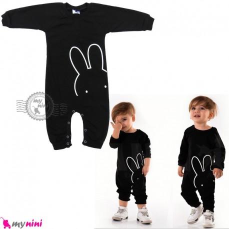 لباس سرهمی نوزاد و کودک نخی دورس مشکی خرگوش Baby cotton sleepsuits
