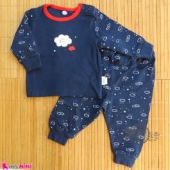 ست لباس نوزاد و کودک نخ پنبه ای سرمه ای ابر Baby clothes set