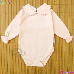 بلوز زیردکمه دار مجلسی یقه ب ب مارک جونیورز صورتی Baby long sleeve bodysuits