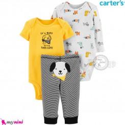 لباس کارترز 3 تکه اورجینال 2 عدد بادی و شلوار زرد طوسی سگ Carter's kids clothes set