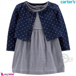کت و سارافون کارترز اورجینال سرمه ای خالدار Carter's Bodysuit Dress & Cardigan Set