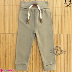 شلوار نخی راحتی بچه گانه بامشی رنگ خاکی Bamshi baby cotton pants
