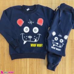 ست بلوز و شلوار گرم دورس بچگانه سرمه ای خرس Baby warm clothes set