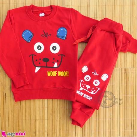 ست بلوز و شلوار گرم دورس بچگانه قرمز خرس Baby warm clothes set
