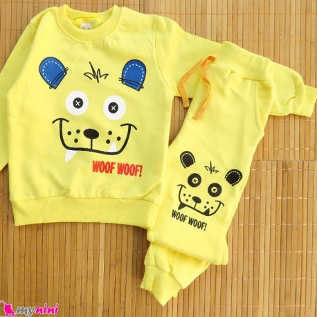 ست بلوز و شلوار گرم دورس بچگانه زرد خرس Baby warm clothes set