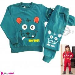 ست بلوز و شلوار گرم دورس بچگانه سبز دودی خرس Baby warm clothes set