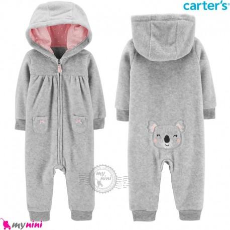 سرهمی کلاهدار کارترز اورجینال گرم و مخملی طوسی کوآلا carter's baby hooded jumpsuits