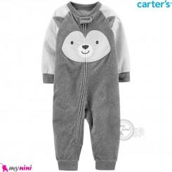 سرهمی گرم کارترز مخملی اورجینال طوسی هاسکی Carters baby fleece pajamas
