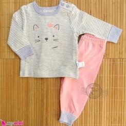 ست لباس نوزاد و کودک نخ پنبه ای طوسی صورتی گربه Baby clothes set