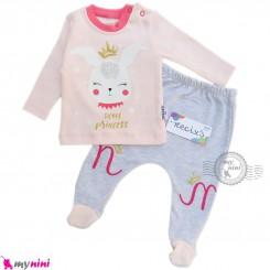 ست بلوز شلوار نوزادی صورتی یخی خرگوش مارک نسیکسز ترکیه Baby clothes set