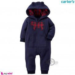 سرهمی کلاهدار کارترز اورجینال گرم و مخملی سرمه ای خرس قرمز carter's baby hooded jumpsuits