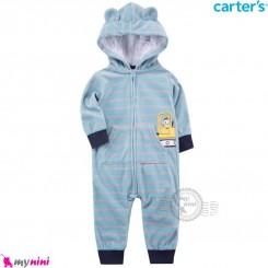 سرهمی کلاهدار کارترز اورجینال گرم و مخملی آبی راه راه بولدوزر carter's baby hooded jumpsuits