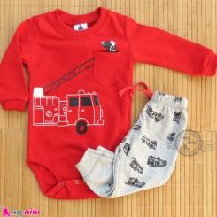 ست بادی بلند و شلوار نخی دورس قرمز طوسی آتشنشانی Baby clothes set