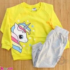ست بلوز و شلوار گرم دورس بچگانه زرد طوسی یونی کورن Baby warm clothes set