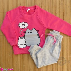 ست بلوز و شلوار گرم دورس بچگانه سرخابی طوسی گربه Baby warm clothes set