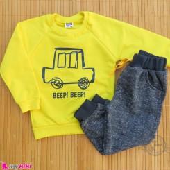 ست بلوز و شلوار گرم دورس بچگانه زرد سرمه ای ماشین Baby warm clothes set